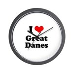 I Love Great Danes Wall Clock