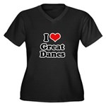 I Love Great Danes Women's Plus Size V-Neck Dark T