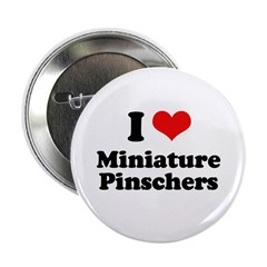 "I Love Miniature Pinschers 2.25"" Button (100 pack)"