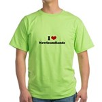 I Love Newfoundlands Green T-Shirt