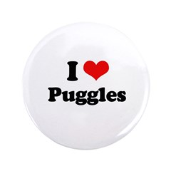 "I Love Puggles 3.5"" Button (100 pack)"