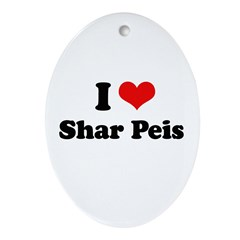 I Love Sharpeis Oval Ornament