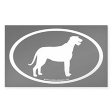 Irish Wolfhound Oval (w/b) Rectangle Decal