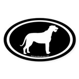 Irish Wolfhound Oval (white on blk) Oval Decal