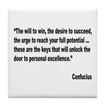 Confucius Personal Excellence Quote Tile Coaster