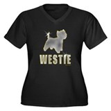 Bling Westie Women's Plus Size V-Neck Dark T-Shirt