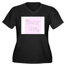 Unique Baby gia Women's Plus Size V-Neck Dark T-Shirt
