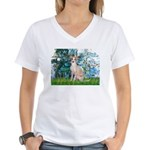Lilies / Ital Greyhound Women's V-Neck T-Shirt
