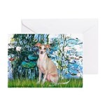 Lilies / Ital Greyhound Greeting Cards (Pk of 20)