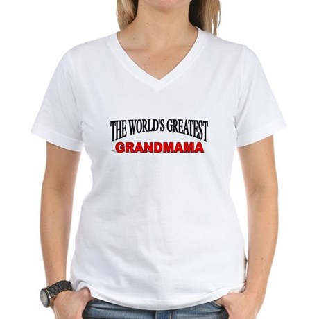 """The World's Greatest Grandmama"" Women's V-Neck T-"