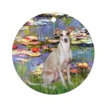 Lilies / Ital Greyhound Ornament (Round)