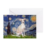 Starry Night / Ital Greyhound Greeting Cards (Pk o