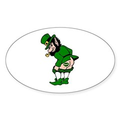 Mooning Leprechaun Oval Sticker