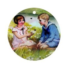 Country Twins Ornament (Round)