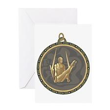 Men's Gymnastics Rings Emblem Greeting Card