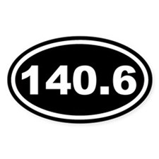 140.6 Ironman Black Euro Oval Decal
