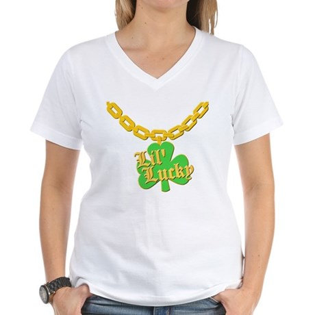 Lil' Lucky Womens V-Neck T-Shirt