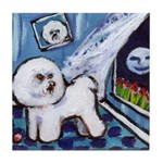 Bichon Frise cs moon Tile Coaster
