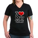 I love my husband Women's V-Neck Dark T-Shirt