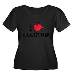 I love electro Women's Plus Size Scoop Neck Dark T