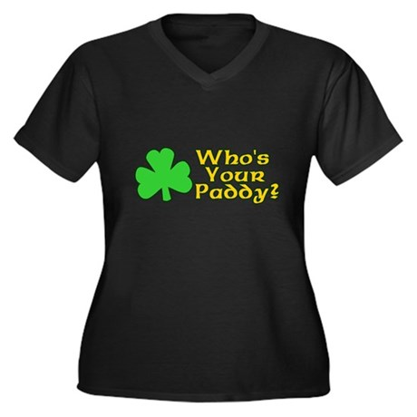 Who's Your Paddy? Womens Plus Size V-Neck Dark T-