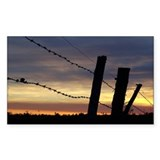 Barbwire Fence Sunset Rectangle Decal