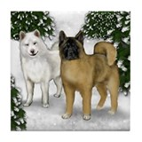 AKITA DOGS WINTER MOUNTAIN Tile Coaster