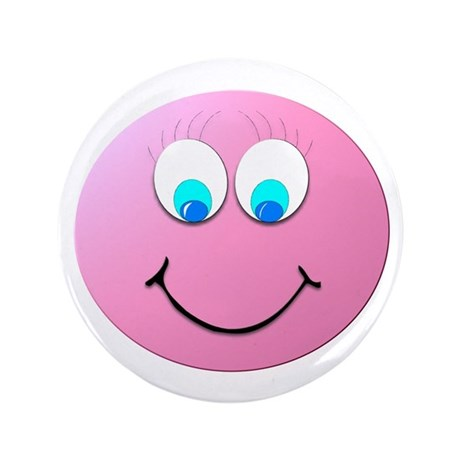 Baby gifts gt baby buttons gt pink smiley face 3 5 quot button