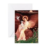Seated Angel / Ital Greyhound Greeting Card