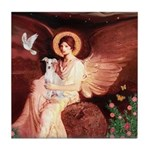 Seated Angel / Ital Greyhound Tile Coaster