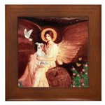 Seated Angel / Ital Greyhound Framed Tile