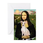 Mona Lisa / Ital Greyhound Greeting Cards (Pk of 2