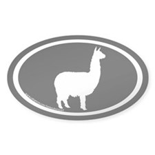 alpaca oval (white on black) Oval Decal