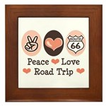 Peace Love Route 66 Road Trip Framed Tile