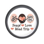 Peace Love Route 66 Road Trip Wall Clock