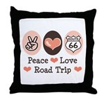 Peace Love Route 66 Road Trip Throw Pillow