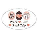 Peace Love Route 66 Road Trip Oval Sticker