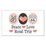 Peace Love Route 66 Road Trip Sticker (Rectangular