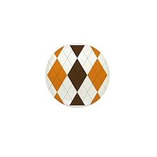 Orange and Brown Argyle Mini Button