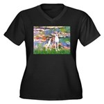 Lilies2/Italian Greyhound Women's Plus Size V-Neck