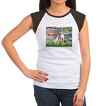 Lilies2/Italian Greyhound Women's Cap Sleeve T-Shi