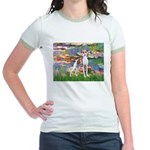 Lilies2/Italian Greyhound Jr. Ringer T-Shirt