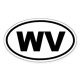 WV West Virginia Euro Oval Decal