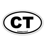 CT Connecticut Euro Oval Decal