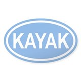 KAYAK Paddling Blue Euro Oval Decal