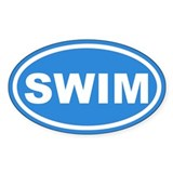 SWIM Swimming Blue Euro Oval Decal