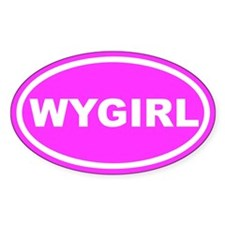 WY GIRL Wyoming Girl Pink Euro Oval Decal