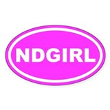 ND GIRL North Dakota Pink Euro Oval Decal