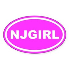 NJ GIRL NEw Jersey Pink Euro Oval Decal