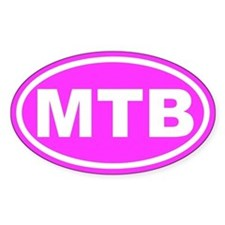 MTB Mountain Biking Pink Euro Oval Decal